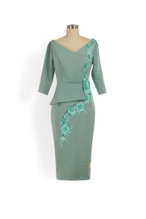 Sage green half peplum pencil dress with embroidered lace and pearl flower detailing and three quarter length sleeves