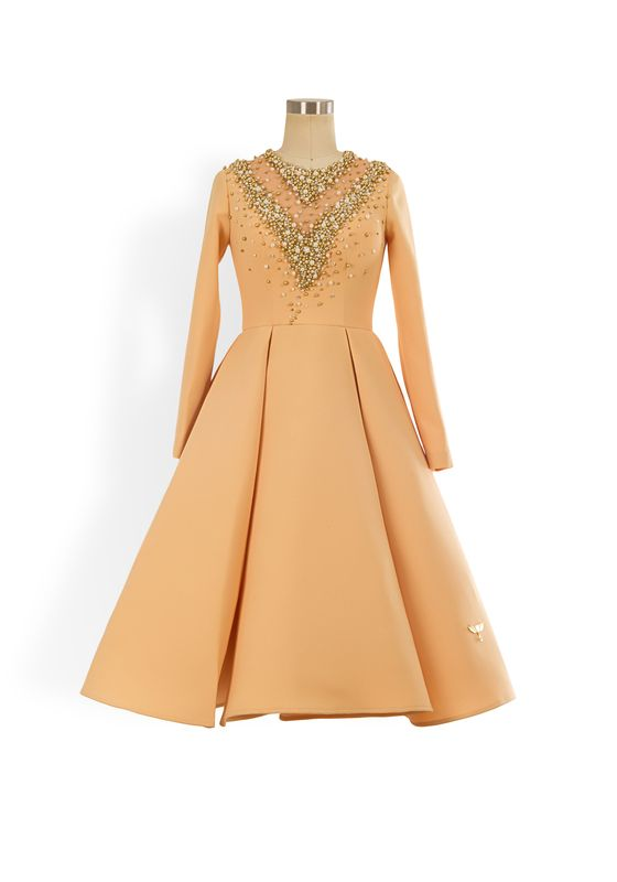 Apricot long-sleeved a-line dress with gold bead embellishment