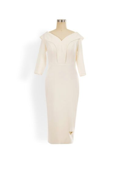 Ivory v-neck pencil with flattering collar detailing and elbow length sleeves
