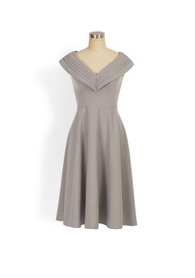 Grey pleated v-neck aline dress