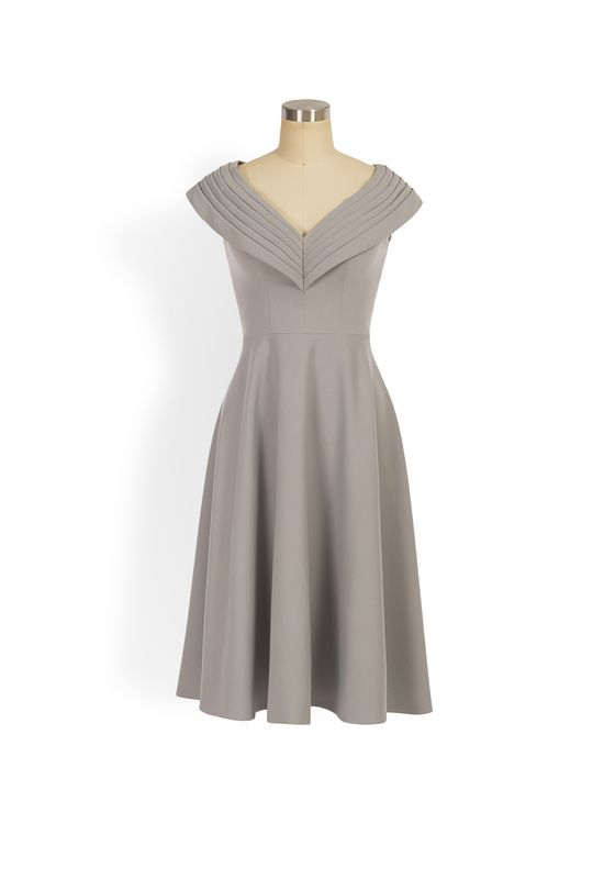 Grey pleated v-neck aline dress