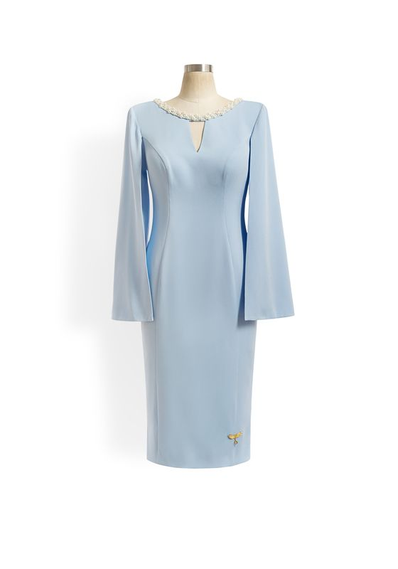 Pale blue pencil dress with pearl neckline, v cutout and cape sleeves