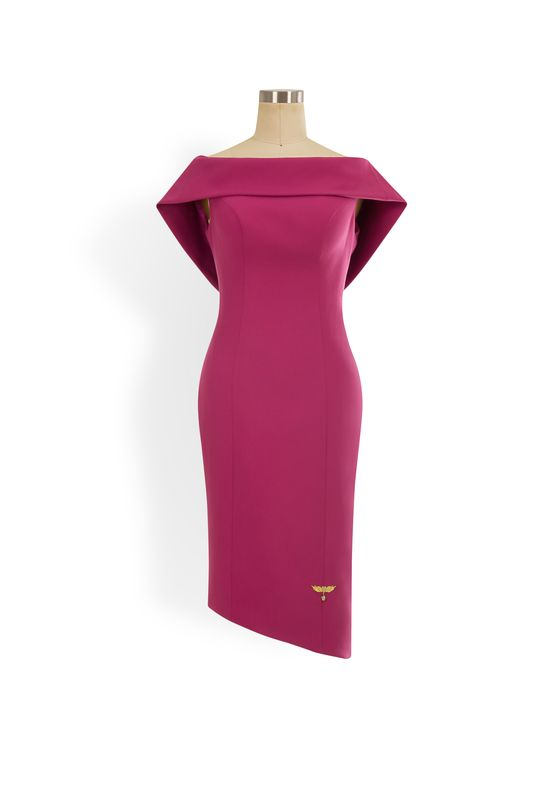 Magenta cowl neck pencil dress with low, embroidered back