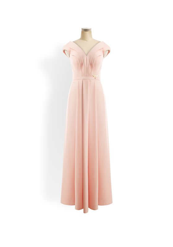 Pale pink double collared cap sleeve a-line gown