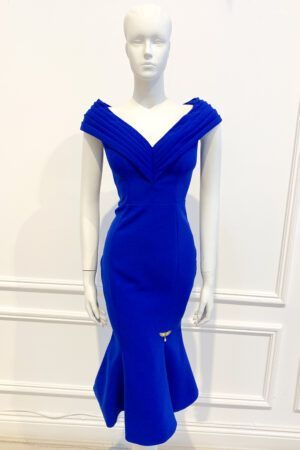 Cobalt blue fishtail dress with wide V neckline with flattering layered effect