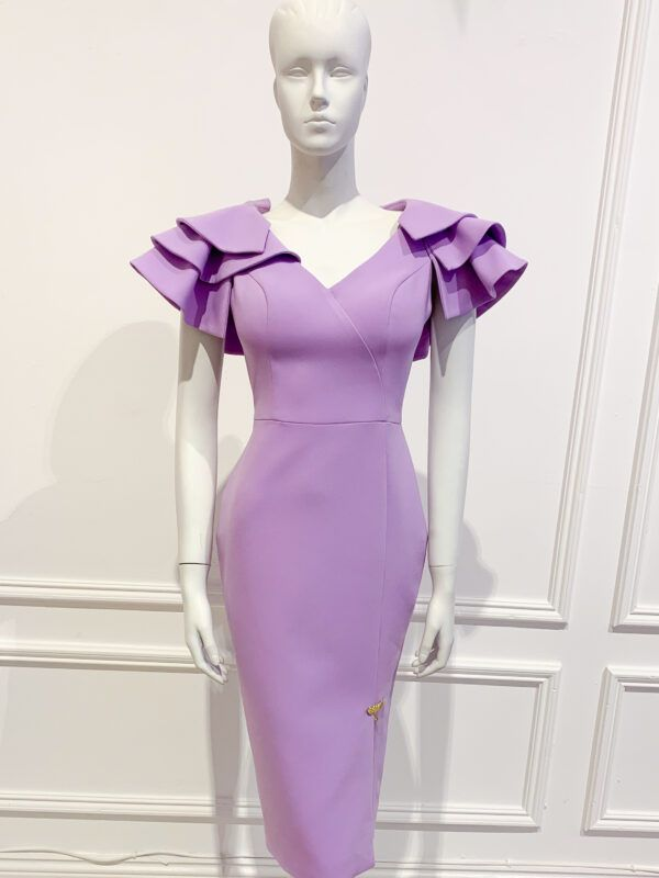 Lilac v neck pencil dress with over-lapped front slit and dramatic ruffle shoulders