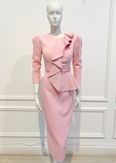 Pale pink ruffle half-peplum pencil dress with pink pearl waistband and small puff shoulder