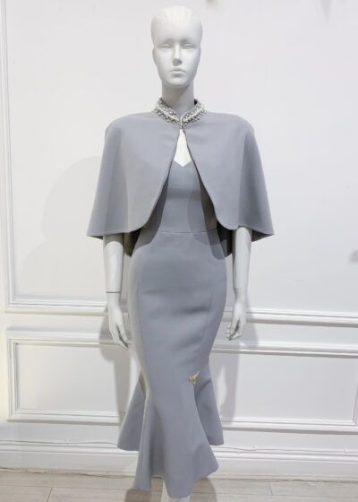 Grey fishtail dress and matching cape with pearls
