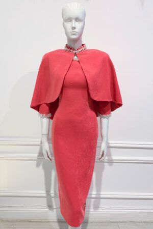 Coral pencil dress and matching cape with pearl trim
