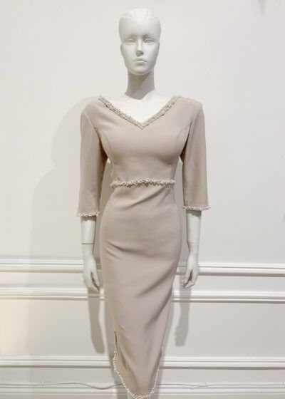 Taupe empire waist pencil dress with v neck and back and ivory pearl embellishment