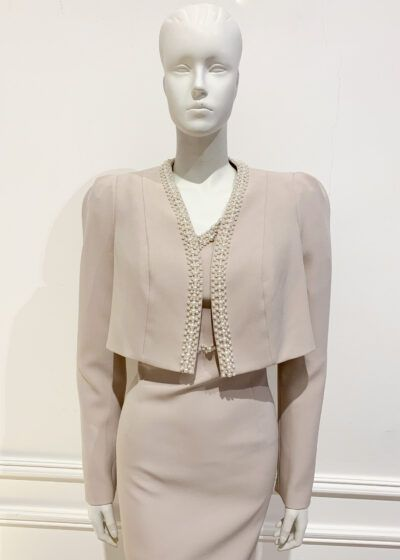 Taupe cropped long sleeved bolero jacket with pearl trim