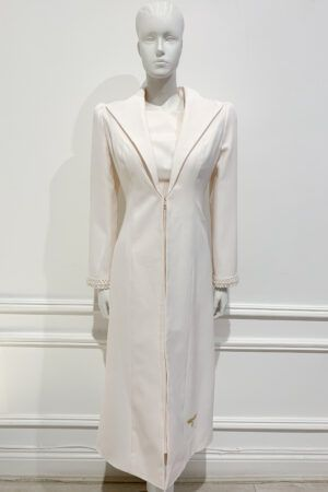 Longline large collar coat with pearl trim cuffs in peach cream