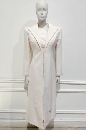 Longline large collar coat with pearl trim cuffs in peach cream