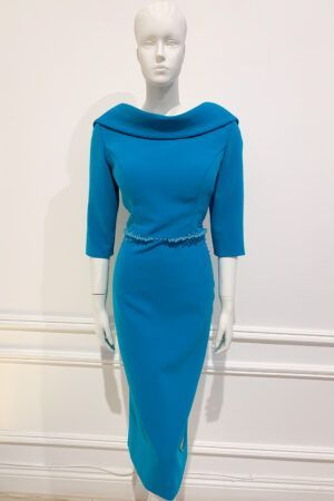 Teal cowl pencil dress with matching beading at the waist