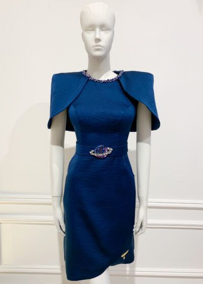 Navy a-line dress with dramatic cap sleeves and embellishment on belt