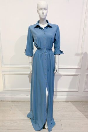 Cornflower blue maxi shirt dress with gold buttons