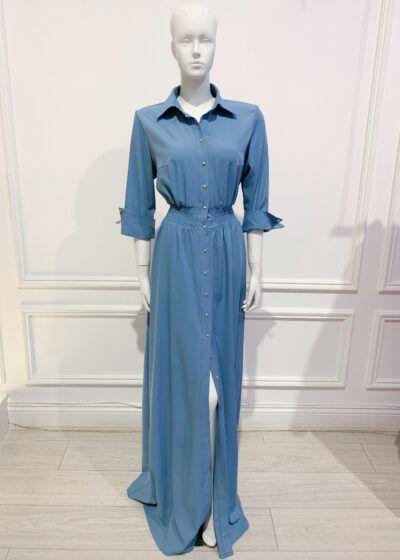 Cornflower blue maxi shirt dress with gold buttons