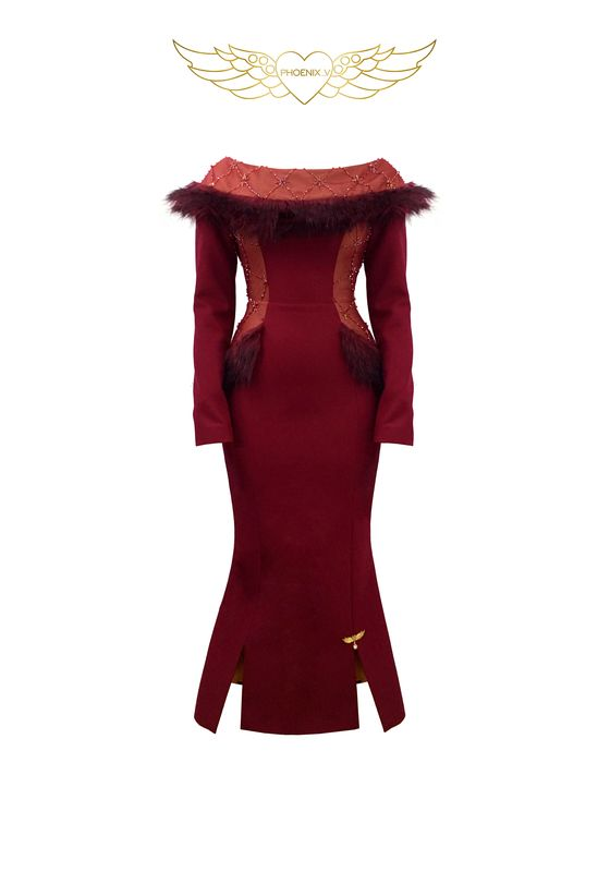 Maroon fur and beaded collar fishtail dress