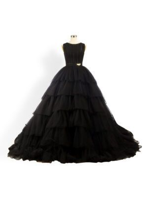 Phoenix_V Kara Gown - Black tulle full-skirt layered ballgown