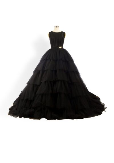 Phoenix_V Kara Gown - Black tulle full-skirt layered ballgown