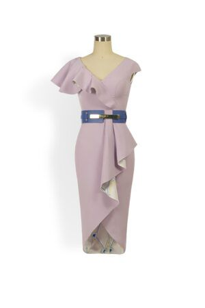 Lilac ruffle peplum pencil dress
