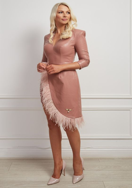 Nude leatherette dress with shoulder pad, v neck and asymmetric feather hem