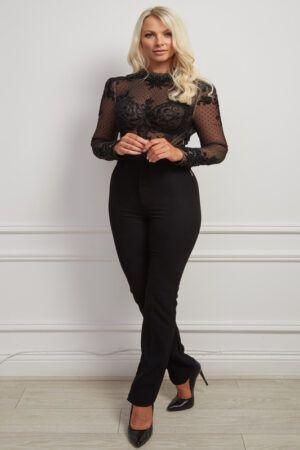 Black lace high-neck beaded bodysuit
