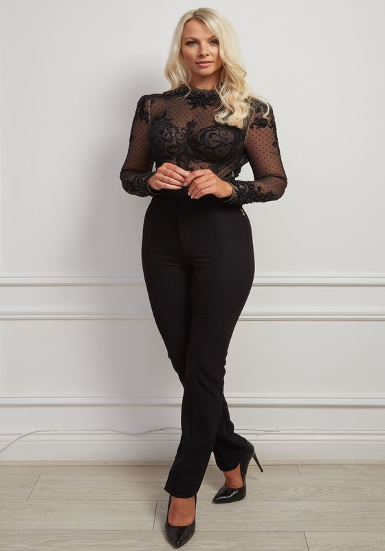 Black lace high-neck beaded bodysuit