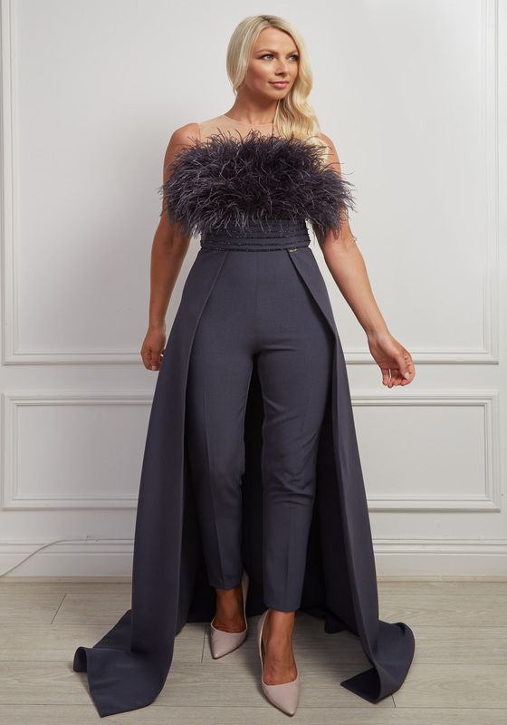 Charcoal sleeveless jumpsuit gown with beaded belt and matching feather bodice