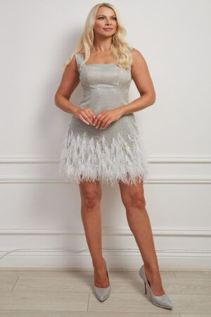 Silver glitter mini dress with square neckline and white feather hem