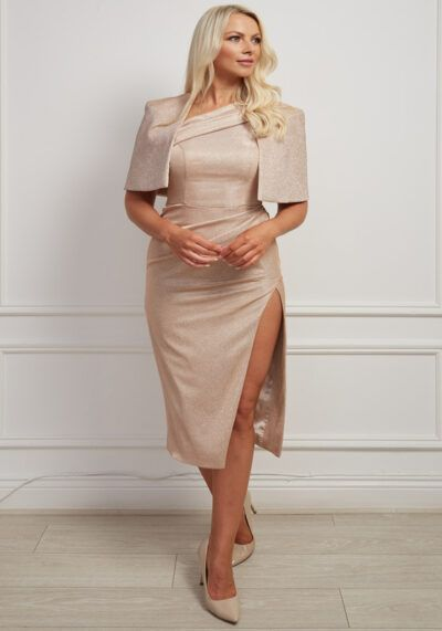 rose gold shimmer dress and cape