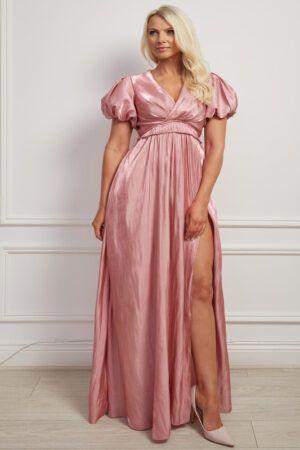 Shimmer pink puff sleeve v-neck maxi dress