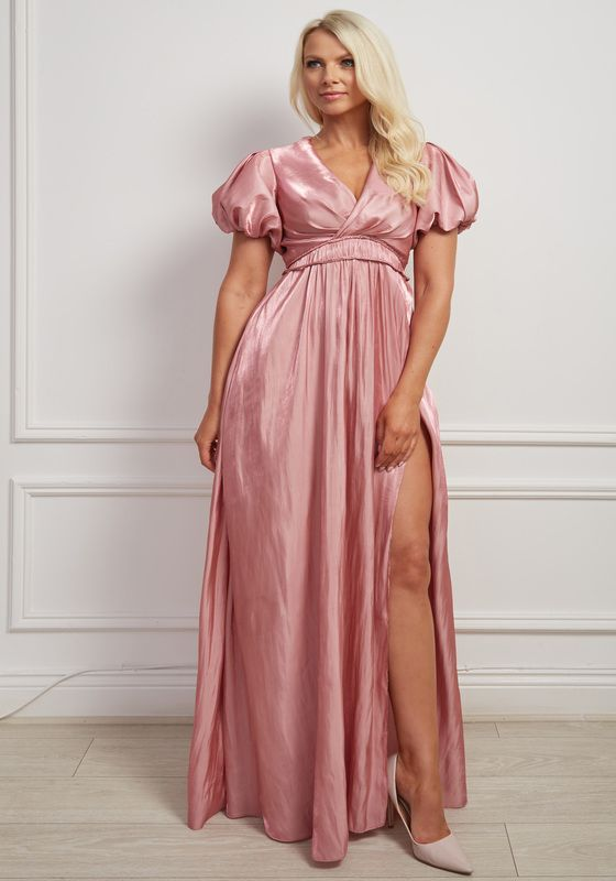 Shimmer pink puff sleeve v-neck maxi dress