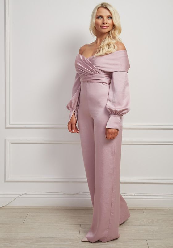 Mauve satin crossover bardot balloon sleeve wide-leg jumpsuit
