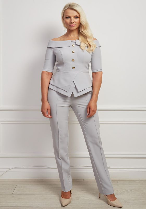 Grey bardot peplum gold button trouser suit