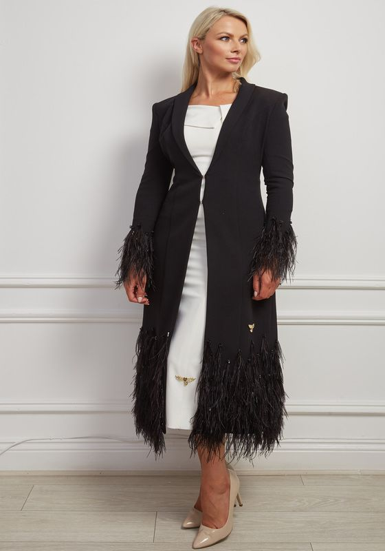 Kael Coat - Longline Black coat with jewel and feather detailing on the hem and cuffs