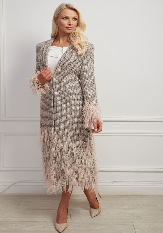 Full-length tweed dress coat with matching feathers