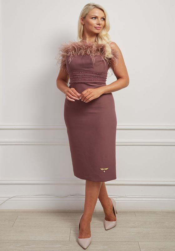 Mauve pencil dress with layered beaded belt and feathers at bust
