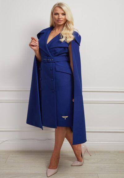 Phoenix_V Ciar Coat - Deep Blue Belted Cape Dress Coat