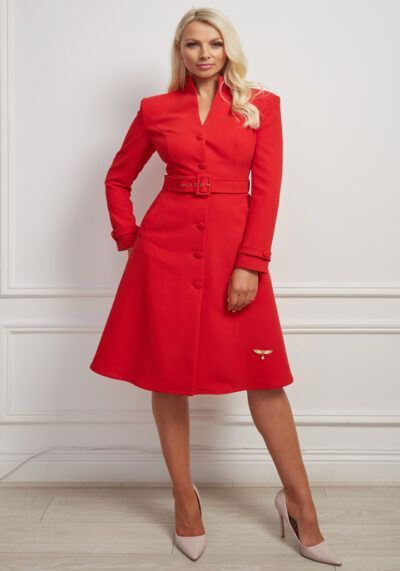 Anfel Coat - a stunning red belted a-line dress coat with fabric covered buttons