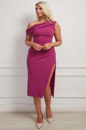 Magenta asymmetric shoulder pencil dress with slit