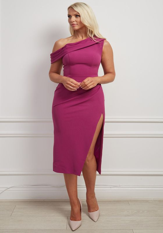 Magenta asymmetric shoulder pencil dress with slit