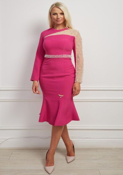 Cerise pink fishtail dress with beaded mesh sleeve and beaded waistband