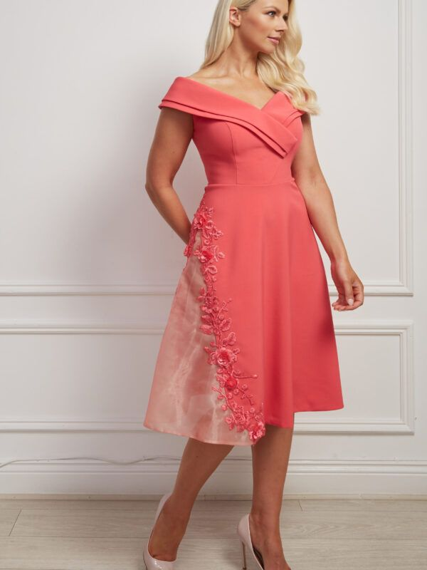 Coral bardot aline dress with lace embroidered mesh panel