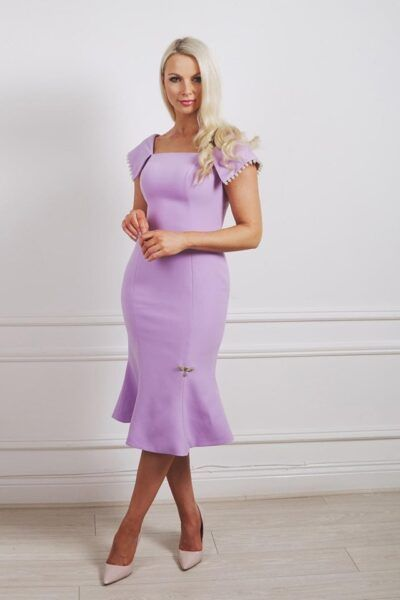Lilac fishtail dress with square neckline, scoop bak and oversized collar with pearl trim