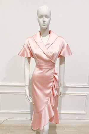 Phoenix_V Auzi Dress - Pale pink satin ruffle tea dress