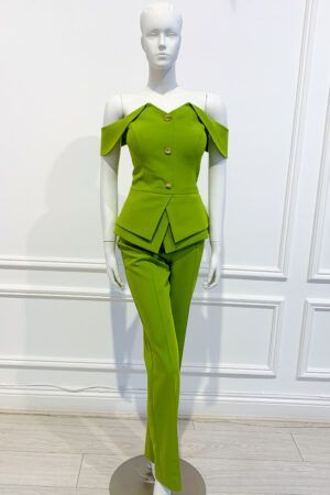 Lime green bardot double peplum trouser suit with gold buttons and zip