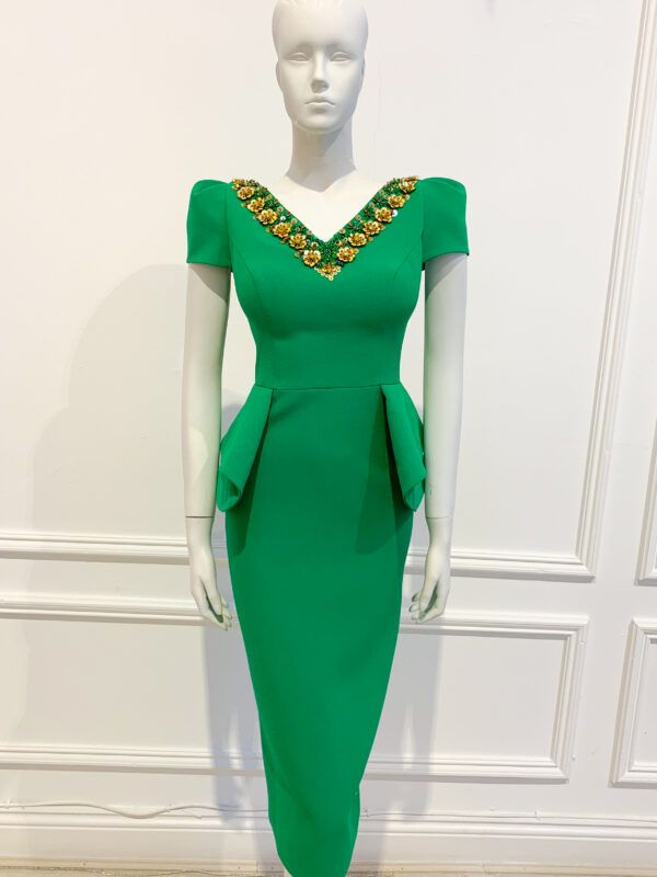 Bright green cap sleeved peplum pencil dress with v neck, scoop back and gold embellishment