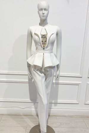Ivory sleeveless peplum suit with silver jewel insert