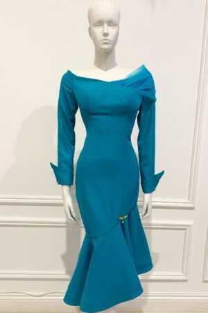 Teal tulle shoulder bardot asymmetric fishtail dress with cuff detail